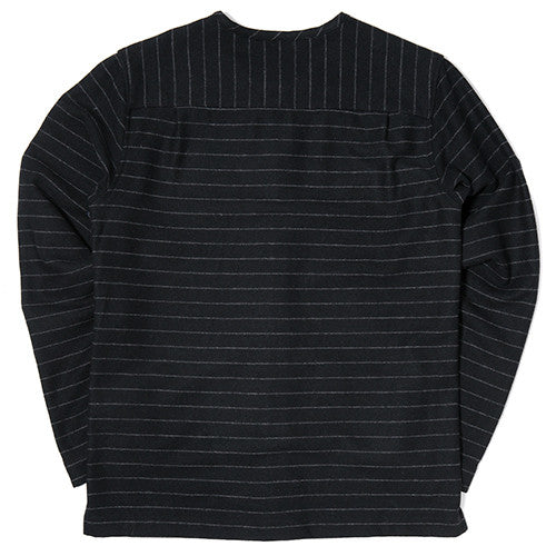 {ie STRIPED WOOL OVERSHIRT / BLACK PINSTRIPE - 2