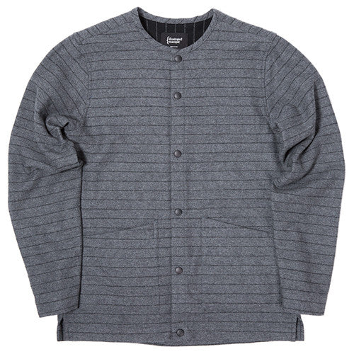 {ie STRIPED WOOL OVERSHIRT / CHARCOAL PINSTRIPE - 1