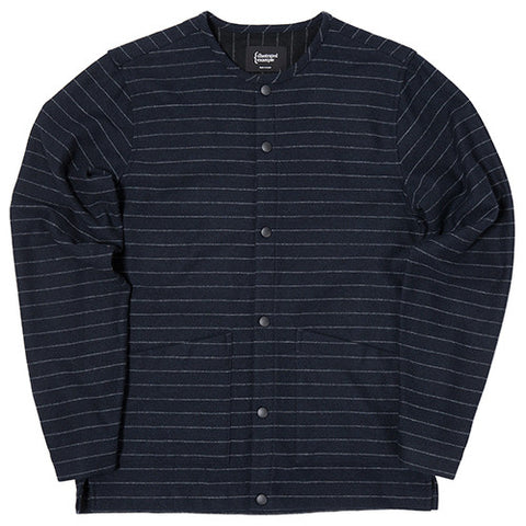 {ie STRIPED WOOL OVERSHIRT / NAVY PINSTRIPE - 1