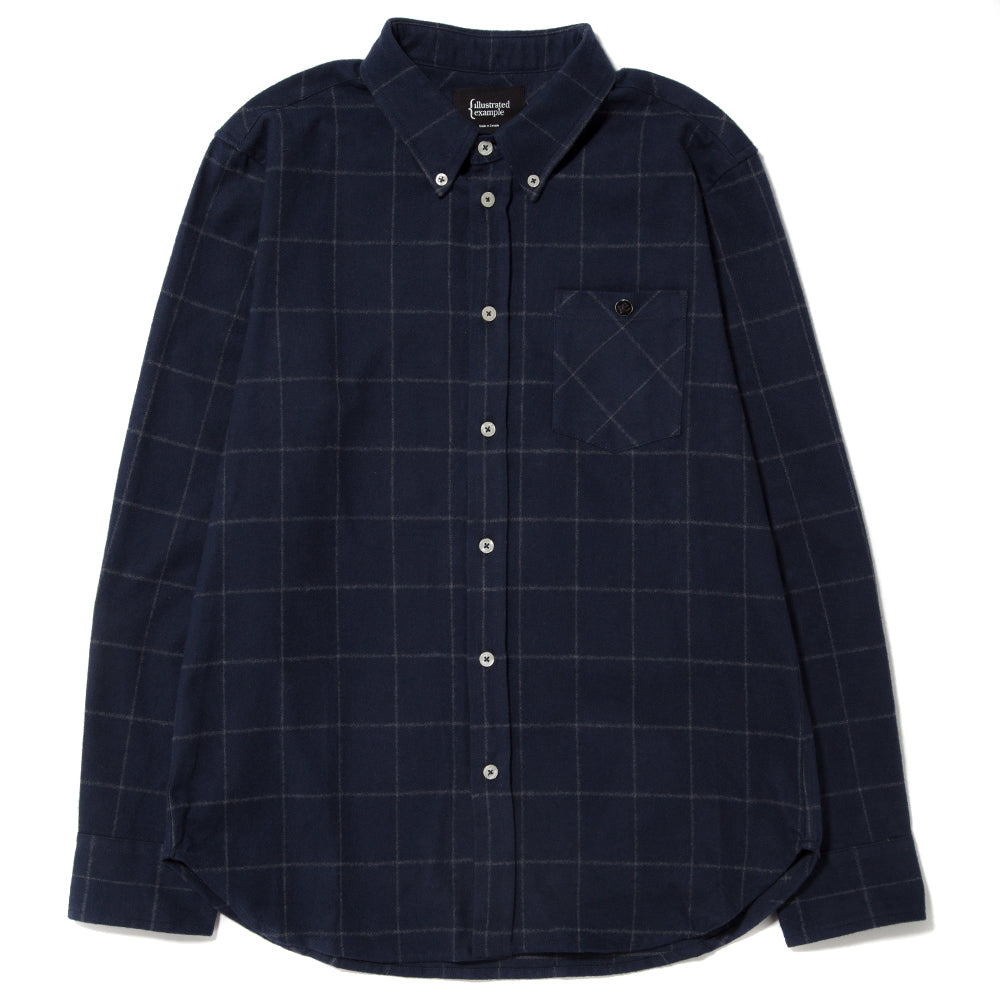 style code 4021SCF17NVY. {ie BASIC SHIRT / NAVY CHECK