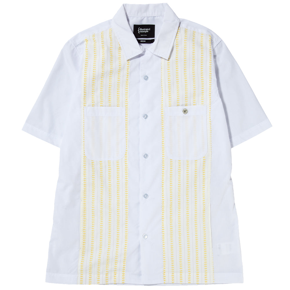 Style code 4027SS18WHT. {ie CAMP SHIRT WHITE / YELLOW
