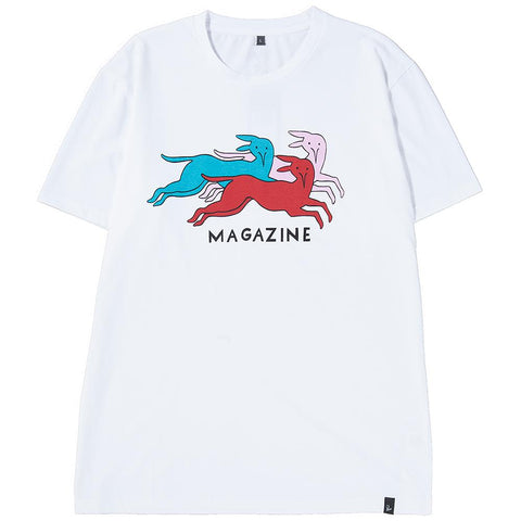 Style code 40750S18. BY PARRA DOG MAGAZINE T-SHIRT / WHITE