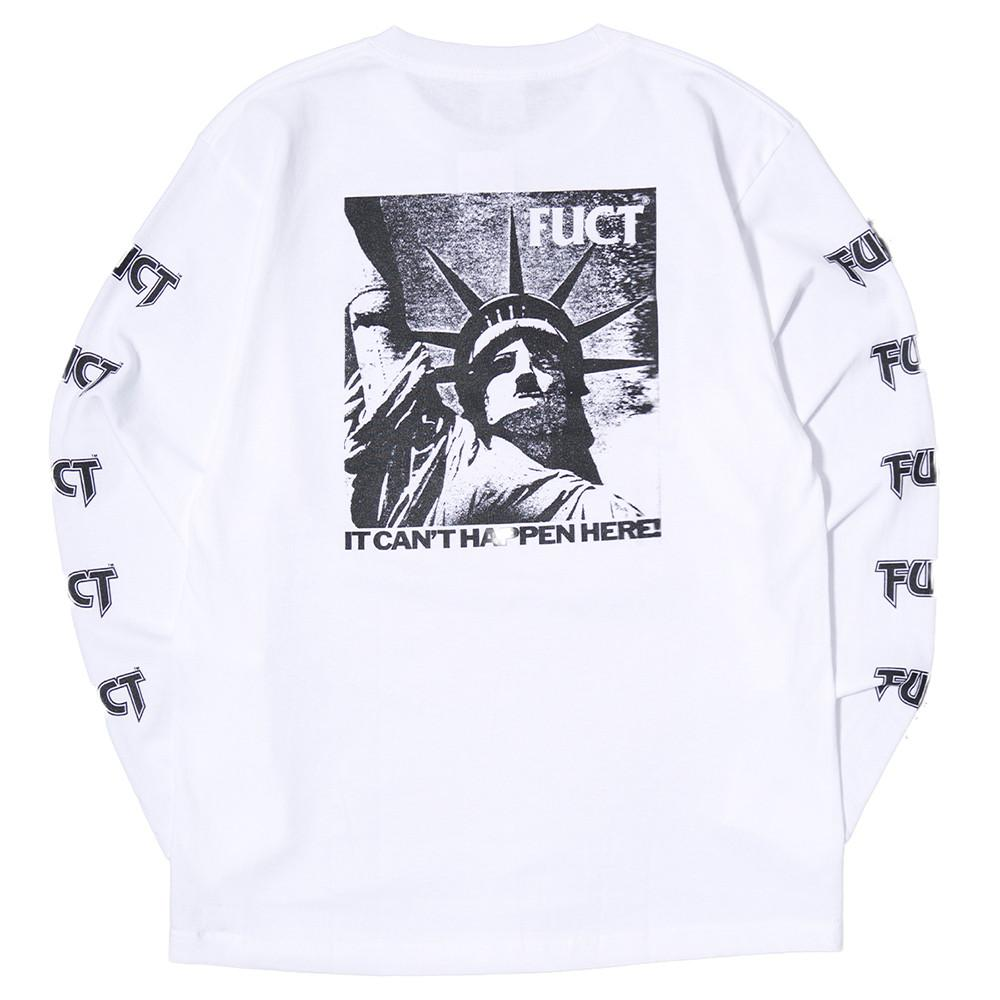 FUCT SSDD IT CAN'T HAPPEN LONG SLEEVE T-SHIRT / WHITE . style code 41706WHT