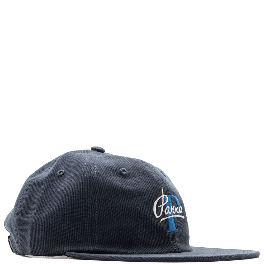 Style code 41810FW18. by Parra Painterly Script 6 Panel Hat / Navy Blue
