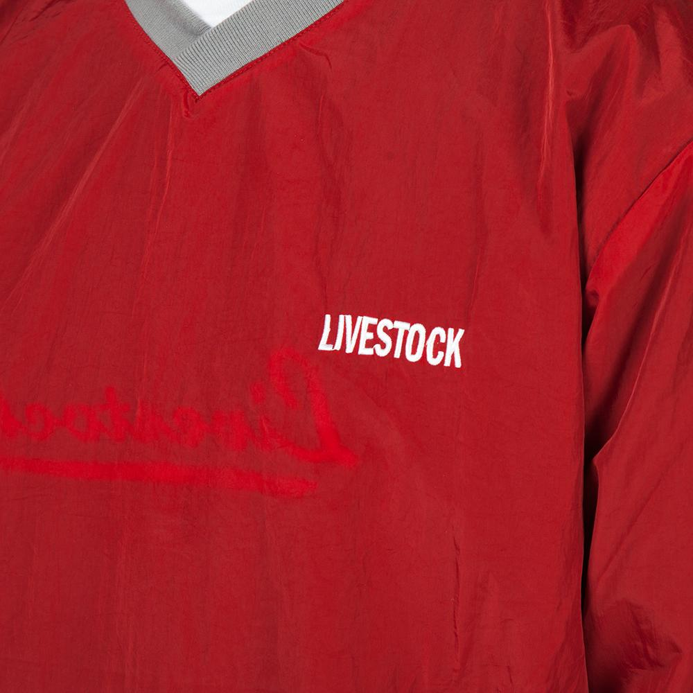 Style code 5025LSBLR. Livestock Reversible Warm Up Pullover / Black - Red