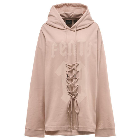 PUMA WOMEN'S FENTY BY RIHANNA LONG SLEEVE GRAPHIC FRONT LACING HOODY / CAMEO ROSE