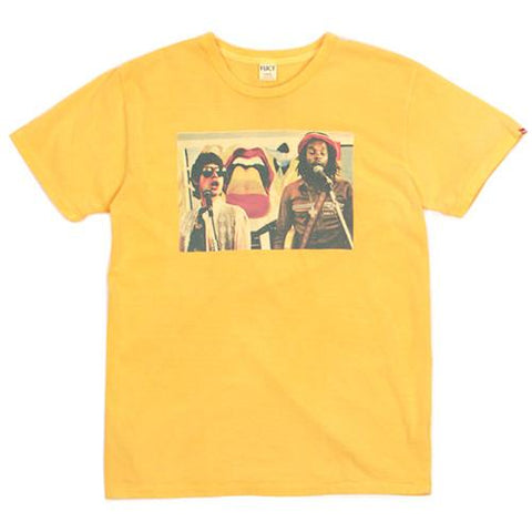 FUCT SSDD MICK JAGER AND PETER TOSH T-SHIRT / P.YELLOW - 1