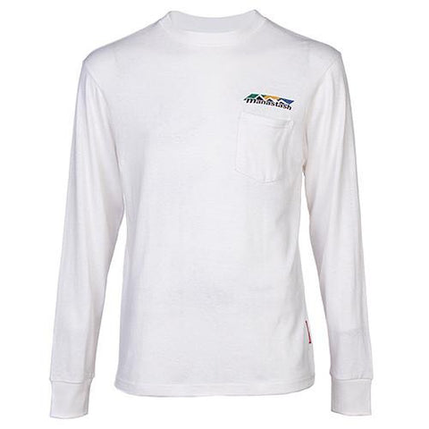 MANASTASH TRI-BLEND HEMP POCKET LS T-SHIRT / WHITE - 1