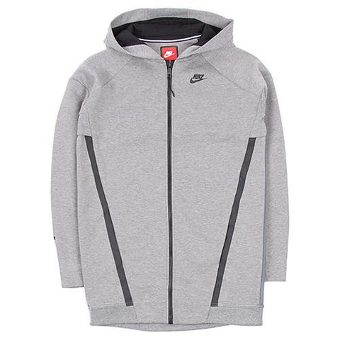 NIKE WOMEN'S TECH FLEECE COCOON MESH ZIP UP / CARBON HEATHER - 1