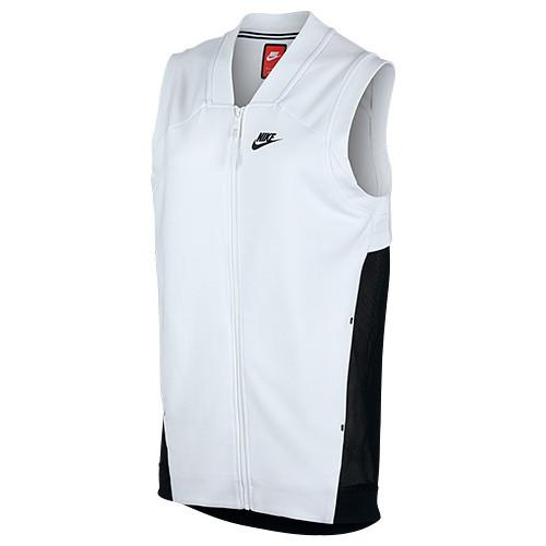 NIKE WOMEN'S TECH FLEECE COCOON MESH VEST / WHITE - 1