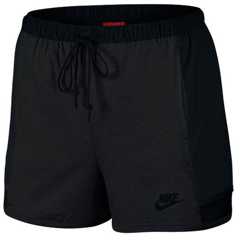 NIKE WOMEN'S BONDED SHORT / BLACK HEATHER - 1