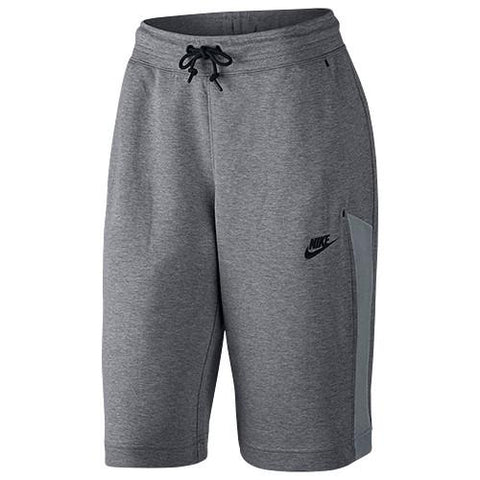 NIKE WOMEN'S TECH FLEECE MESH SHORT / CARBON HEATHER - 1