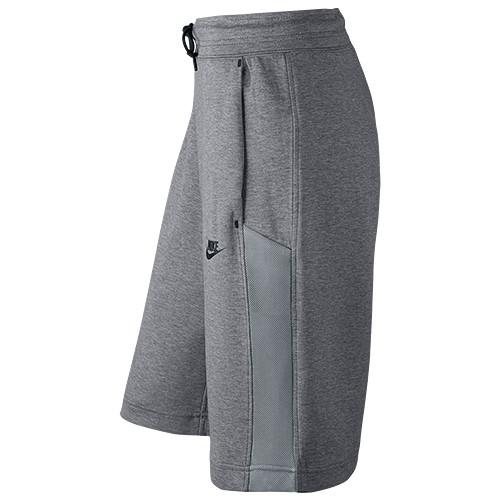 NIKE WOMEN'S TECH FLEECE MESH SHORT / CARBON HEATHER - 3