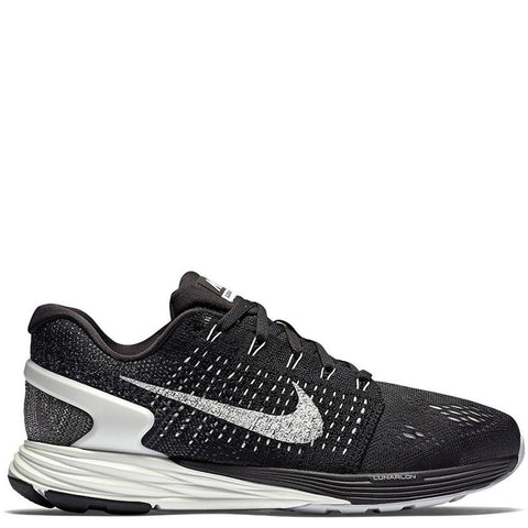 NIKE WOMEN'S LUNARGLIDE 7 BLACK / SUMMIT WHITE - 1