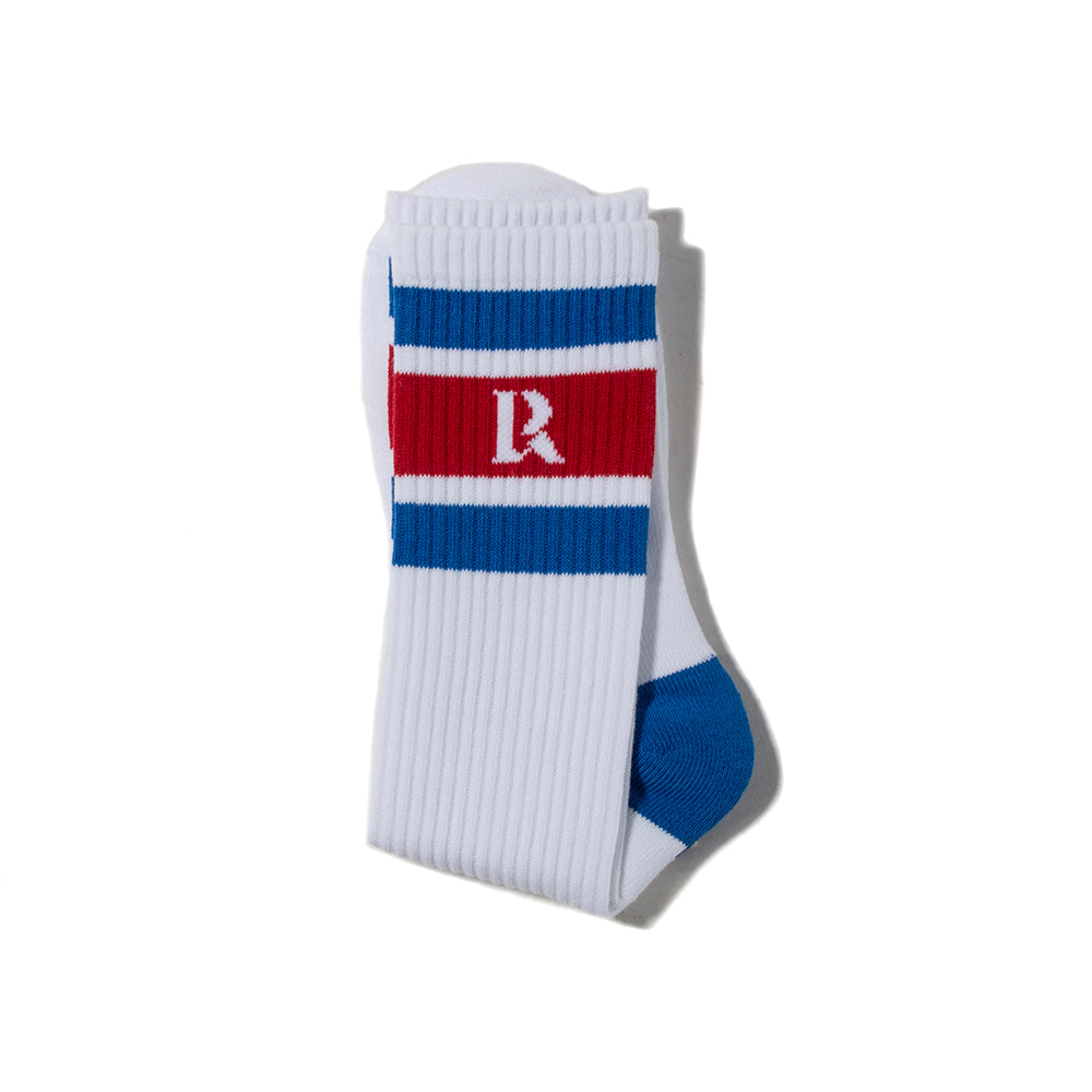 Liberaiders LR Logo Socks White / Blue - Deadstock.ca
