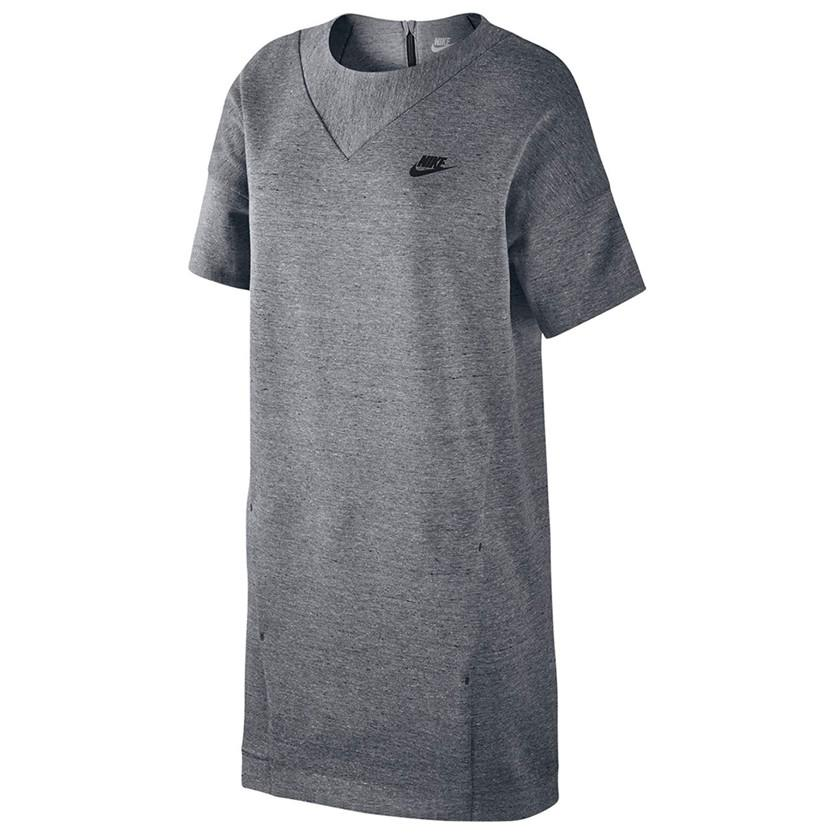 NIKE WOMEN'S SPORTSWEAR TECH FLEECE DRESS / CARBON HEATHER - 1