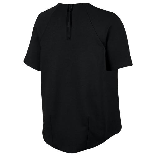NIKE WOMEN'S SPORTSWEAR TECH FLEECE SHORT SLEEVE CREW / BLACK - 2