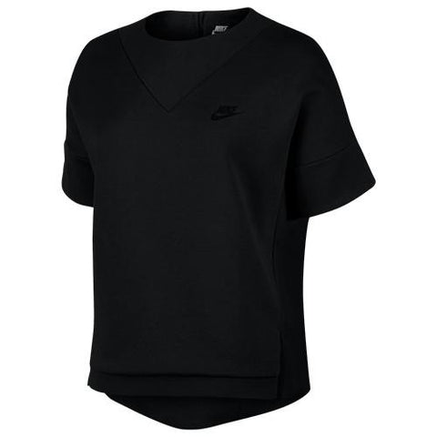 NIKE WOMEN'S SPORTSWEAR TECH FLEECE SHORT SLEEVE CREW / BLACK - 1