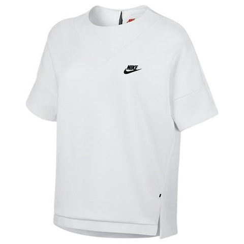 NIKE WOMEN'S SPORTSWEAR TECH FLEECE SHORT SLEEVE CREW / WHITE - 1