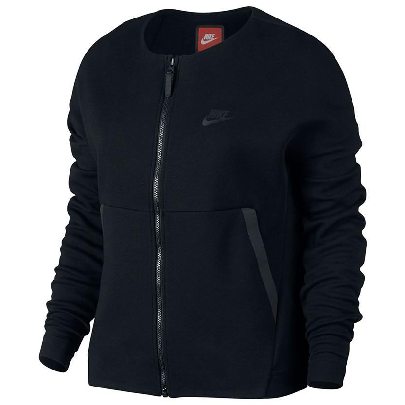 NIKE WOMEN'S SPORTSWEAR TECH FLEECE JACKET / BLACK - 1