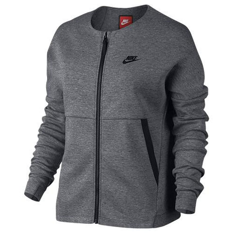 NIKE WOMEN'S SPORTSWEAR TECH FLEECE JACKET / CARBON HEATHER - 1