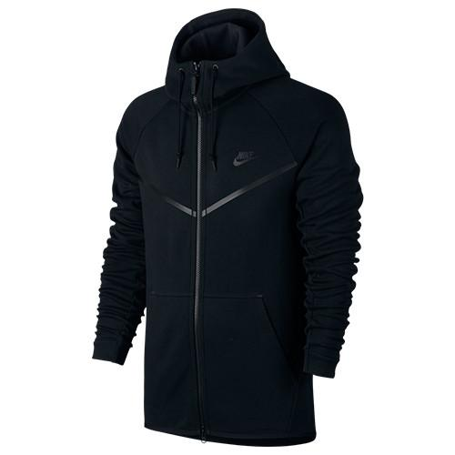 style code 805144-010  . NIKE SPORTSWEAR TECH FLEECE WINDRUNNER ZIP HOODY / BLACK - 1