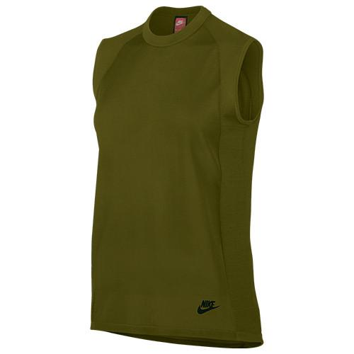 NIKE WOMEN'S SPORTSWEAR TECH KNIT TOP / OLIVE FLAK - 1