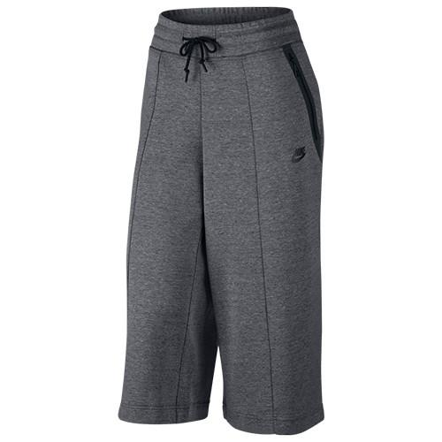 NIKE WOMEN'S SPORTSWEAR TECH FLEECE CAPRI / CARBON HEATHER - 1