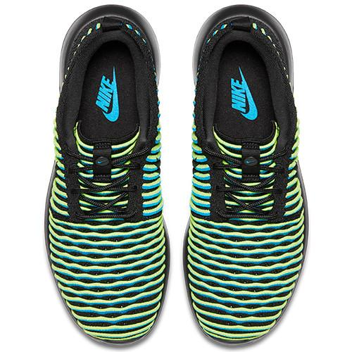 Style code 844929-003. NIKE WOMEN'S ROSHE TWO FLYKNIT BLACK / BLACK - PHOTO BLUE - 1