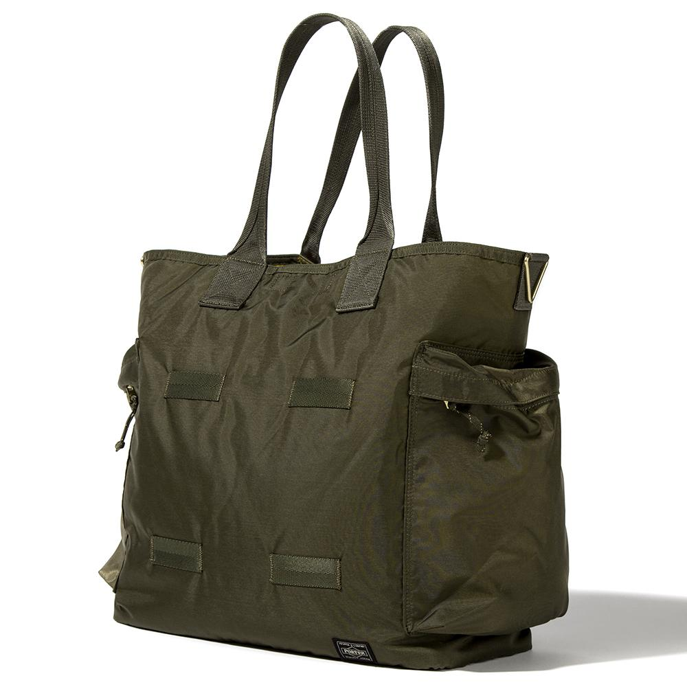 style code 855-07500. PORTER FORCE 2WAY TOTE BAG / OLIVE