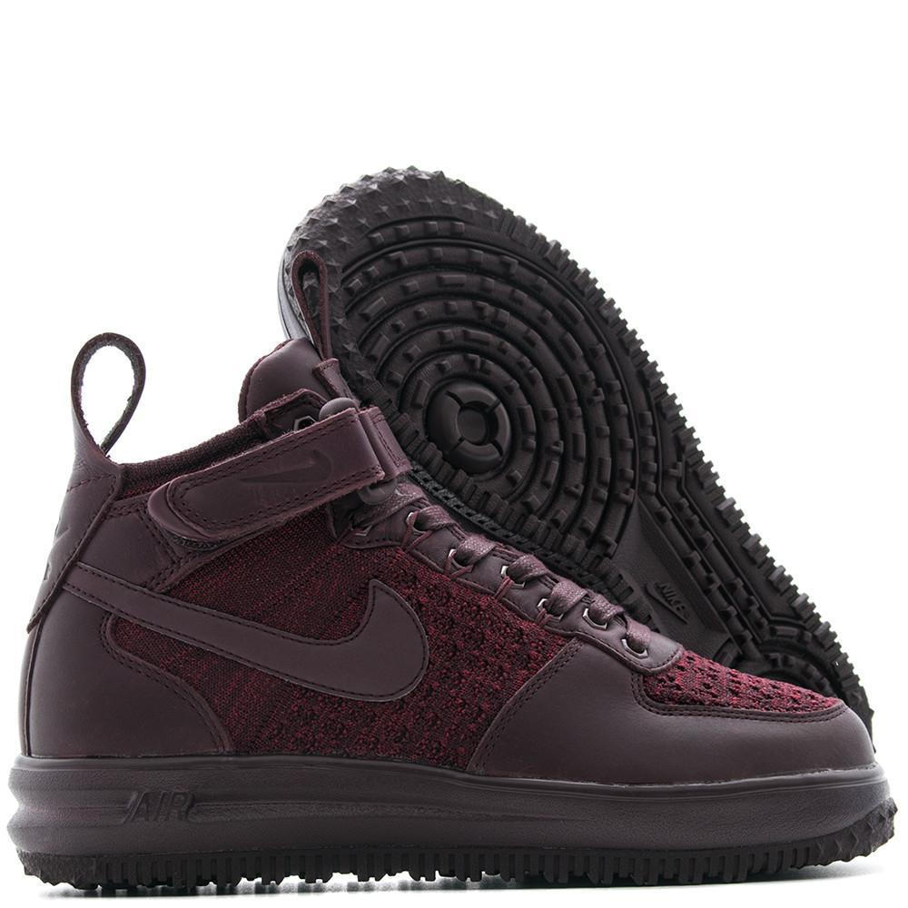 style code 860558600 . NIKE WOMENS LUNAR FORCE 1 FLYKNIT WORKBOOT / DEEP BURGUNDY - 1