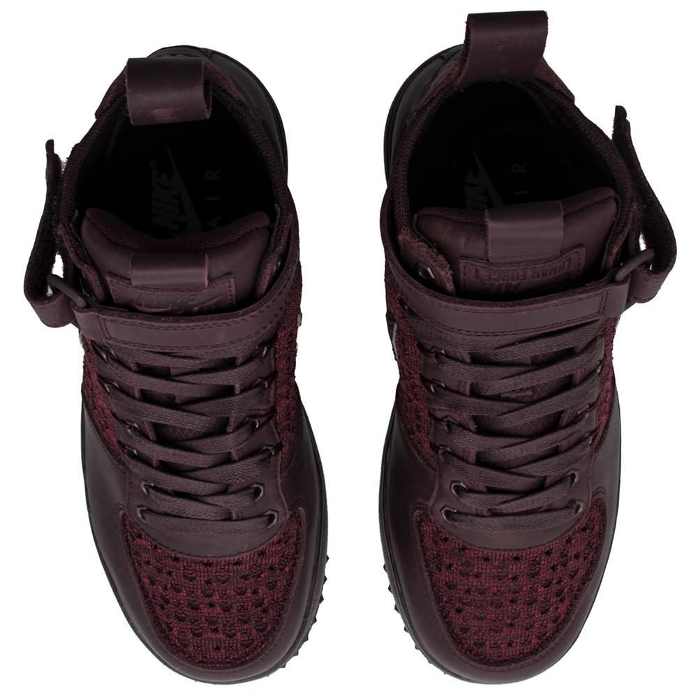 style code 860558600 . NIKE WOMENS LUNAR FORCE 1 FLYKNIT WORKBOOT / DEEP BURGUNDY