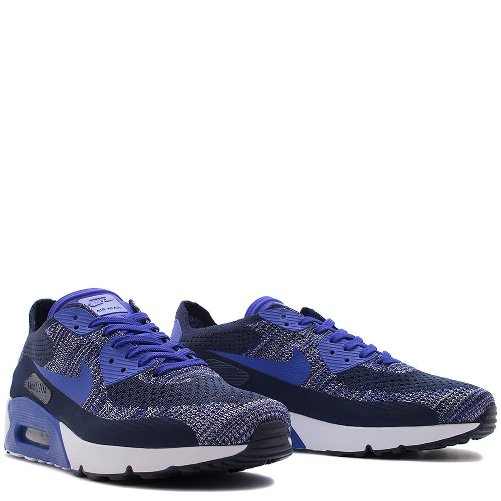 Style code 875943-400. NIKE AIR MAX 90 ULTRA 2.0 FLYKNIT / COLLEGE NAVY