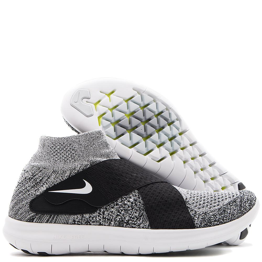 Nike Free RN motion flyknit 2017. Flex fit sole and two-strap lacing system. No laces. Black / white