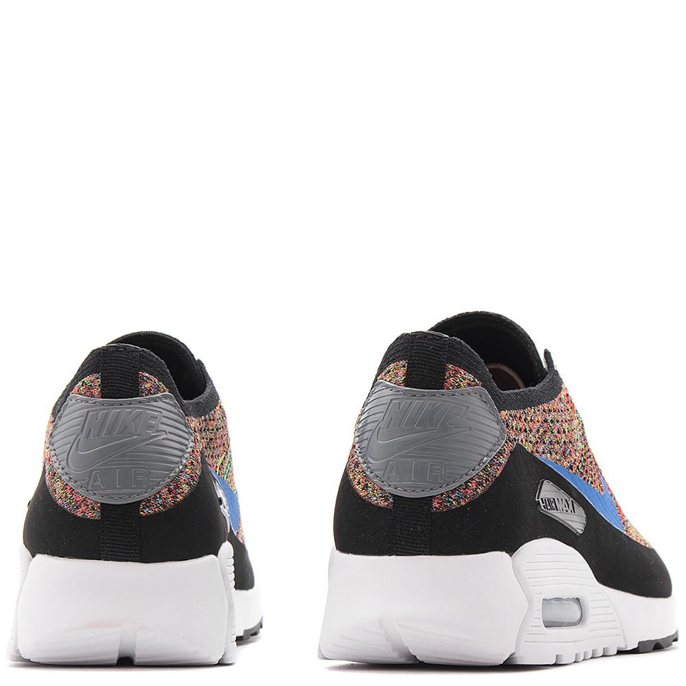 style code 881109001. NIKE WOMEN'S AIR MAX 90 FLYKNIT ULTRA 2.0 BLACK / MEDIUM BLUE