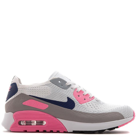 NIKE WOMEN'S AIR MAX 90 FLYKNIT ULTRA 2.0 WHITE / LASER PINK