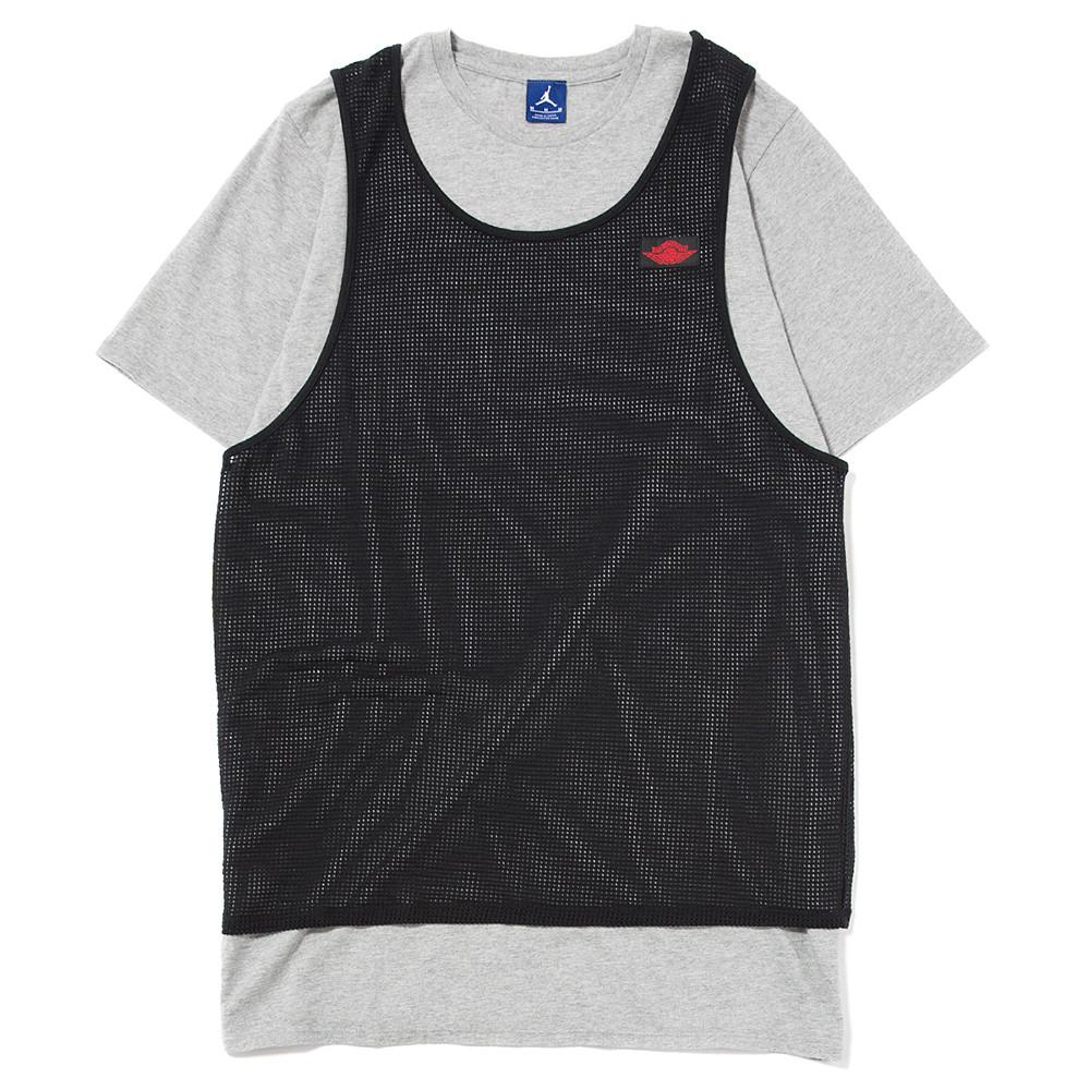 style code 884271-063. JORDAN BLUE LABEL TIER ZERO MESH OVERLAY T-SHIRT / DK GREY HEATHER