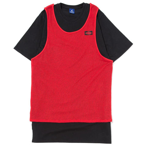 style code 884271-657. JORDAN BLUE LABEL TIER ZERO MESH OVERLAY T-SHIRT / UNIVERSITY RED