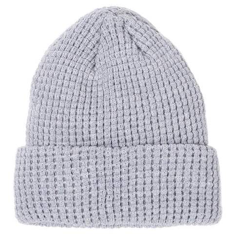 {ie MERINO WAFFLE BEANIE / HEATHER GREY - 1