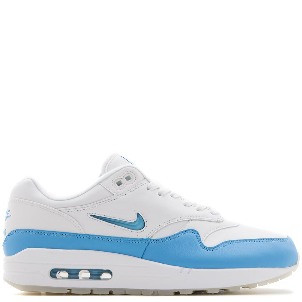 style code 918354-102. NIKE AIR MAX 1 PREMIUM SC QS WHITE / UNIVERSITY BLUE