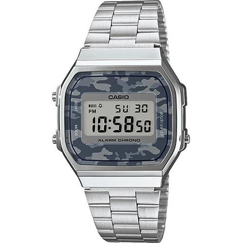 CASIO VINTAGE WATCH SILVER CAMO / SILVER. Style code GS-A168WEC-1VT