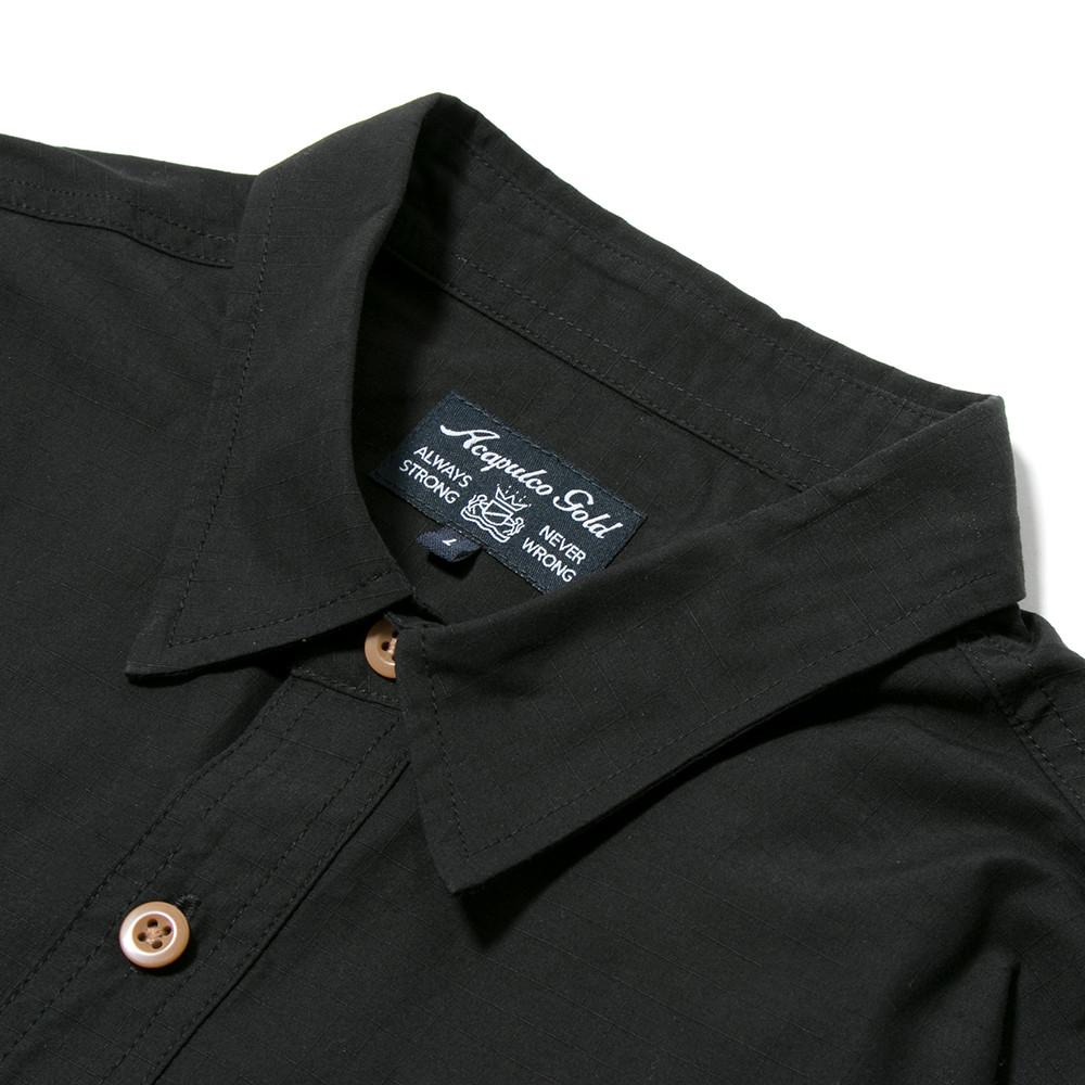 style code AGSP171007BLK. ACAPULCO GOLD MILITARY S/S FIELD SHIRT / BLACK