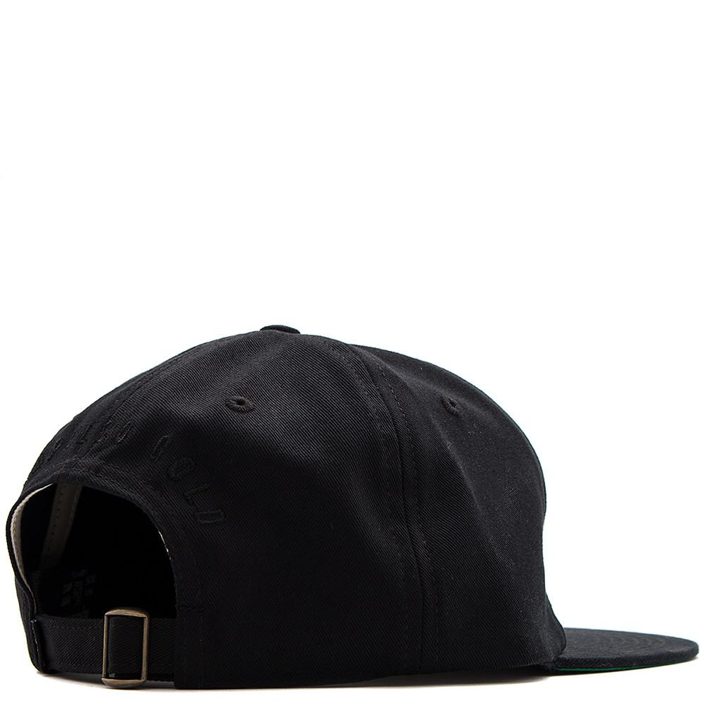 style code AGSP171025BLK. ACAPULCO GOLD FEATHERS 6 PANEL CAP / BLACK