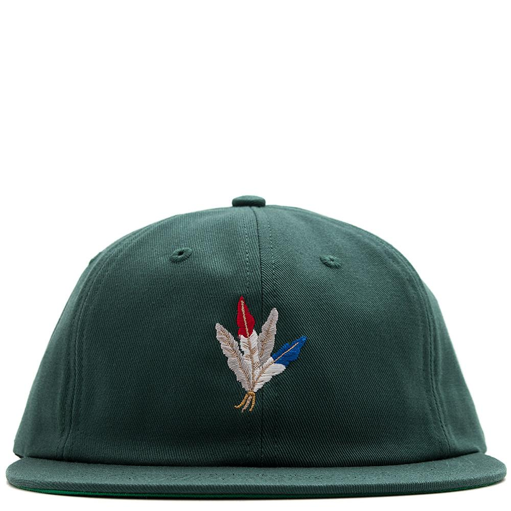 style code AGSP171025GRN. ACAPULCO GOLD FEATHERS 6 PANEL CAP DARK GREEN