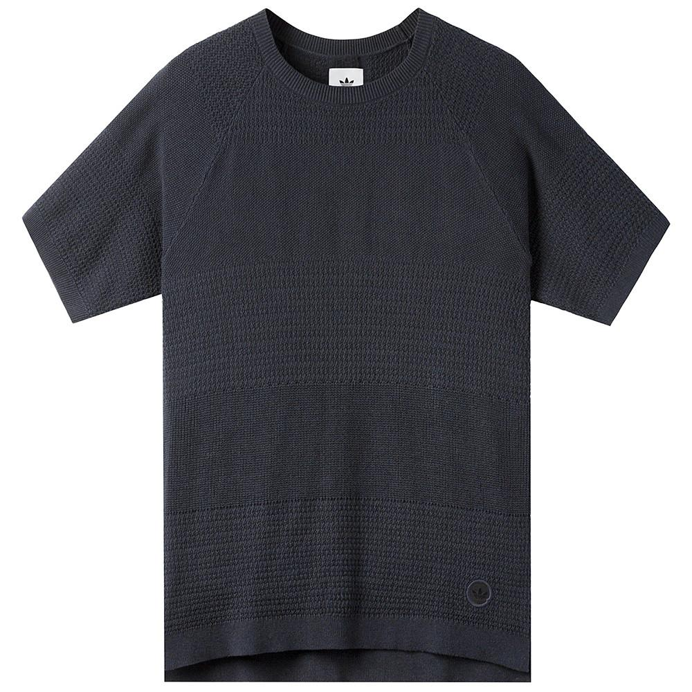 style code BK0238. ADIDAS CONSORTIUM X WINGS + HORNS LINEAR T-SHIRT / NIGHT NAVY