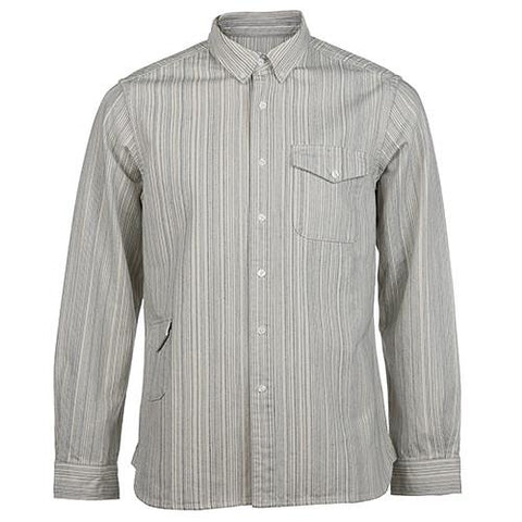 GARBSTORE BUTTON UP HEAVY TWO POCKET SHIRT STRIPED JAPANESE COTTON / ECRU - 1