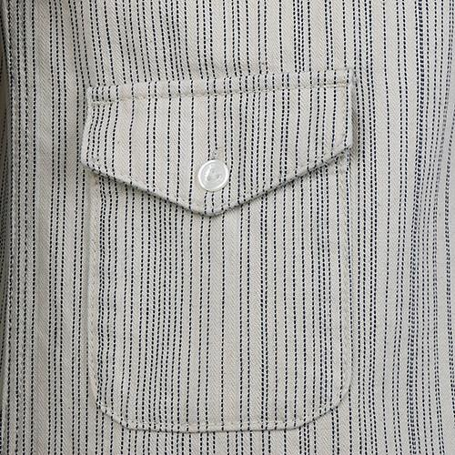 GARBSTORE BUTTON UP HEAVY TWO POCKET SHIRT STRIPED JAPANESE COTTON / ECRU - 4