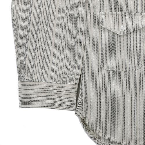 GARBSTORE BUTTON UP HEAVY TWO POCKET SHIRT STRIPED JAPANESE COTTON / ECRU - 5