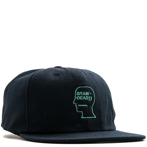 BRAIN DEAD HERRINGBONE LOGO HAT / NAVY - 1