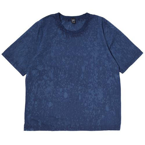 BRAIN DEAD MELTER HAND DYED WOVEN T-SHIRT / NAVY - 1